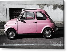 Old Pink Fiat 500 Acrylic Print
