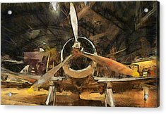 Old Plane In The Hangar Acrylic Print by Dan Sproul