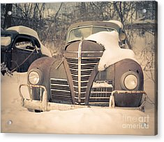Old Plymouth Classic Car In The Snow Acrylic Print by Edward Fielding