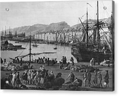 Old Port Of Toulon, Seen From The Quartermasters Stores, Series Of Les Ports De France, 1757 Acrylic Print by Claude Joseph Vernet
