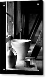 Old Pots At The Window Acrylic Print by Tommytechno Sweden