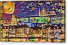 Old Prague Magic - Wallpaper Acrylic Print