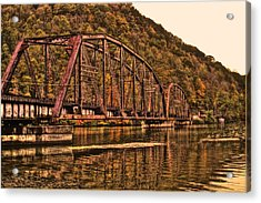 Acrylic Print featuring the photograph Old Railroad Bridge With Sepia Tones by Jonny D