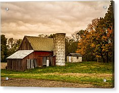 Old Red Barn And Silo Acrylic Print