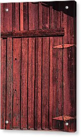 Old Red Barn Door Acrylic Print by Garry Gay