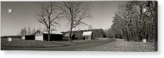 Old Red Barn In Black And White Long Acrylic Print by Amazing Photographs AKA Christian Wilson
