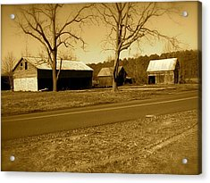 Old Red Barn In Sepia Acrylic Print by Amazing Photographs AKA Christian Wilson