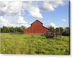 Acrylic Print featuring the photograph Old Red Barn by Mark Greenberg