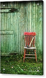 Acrylic Print featuring the photograph Old Red Chair Near A Barn/digital Oil Painting by Sandra Cunningham