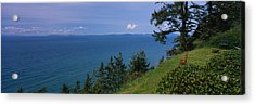 Old Red Chair Near The Sea, Strait Acrylic Print by Panoramic Images
