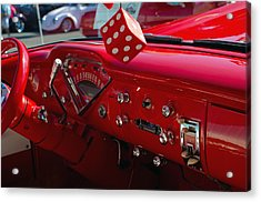 Acrylic Print featuring the photograph Old Red Chevy Dash by Tikvah's Hope