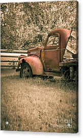 Old Red Farm Truck Acrylic Print by Edward Fielding