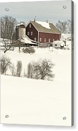 Old Red New England Barn In Winter Acrylic Print by Edward Fielding