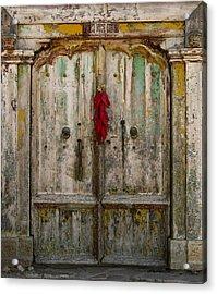 Old Ristra Door Acrylic Print by Kurt Van Wagner