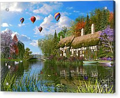 Old River Cottage Acrylic Print by Dominic Davison