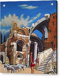 Old Ruins Flower Girl And Sheep Acrylic Print by William Cain