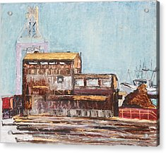 Old Rustic Schnitzer Steel Building With Crane And Ship Acrylic Print by Asha Carolyn Young