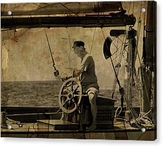 Acrylic Print featuring the photograph old sailor A vintage processed photo of a sailor sitted behind the rudder in Mediterranean sailing by Pedro Cardona
