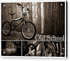 Old School Bmx - Pk Collage Bw Acrylic Print by Jamian Stayt