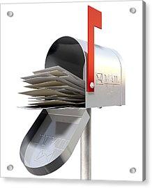 Old School Retro Metal Mailbox Full Acrylic Print by Allan Swart