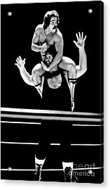 Old School Wrestling Piggyback Ride By Mando Guerrero Acrylic Print by Jim Fitzpatrick