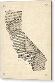 Old Sheet Music Map Of California Acrylic Print by Michael Tompsett