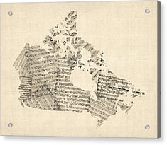 Old Sheet Music Map Of Canada Map Acrylic Print by Michael Tompsett