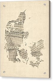 Old Sheet Music Map Of Denmark Acrylic Print