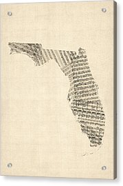 Old Sheet Music Map Of Florida Acrylic Print by Michael Tompsett