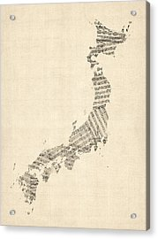 Old Sheet Music Map Of Japan Acrylic Print by Michael Tompsett