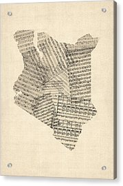 Old Sheet Music Map Of Kenya Map Acrylic Print by Michael Tompsett