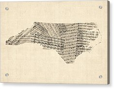 Old Sheet Music Map Of North Carolina Acrylic Print by Michael Tompsett