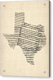 Old Sheet Music Map Of Texas Acrylic Print
