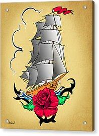 Old Ship Tattoo  Acrylic Print by Mark Ashkenazi