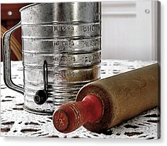 Old Sifter And Rolling Pin Acrylic Print by Janice Drew