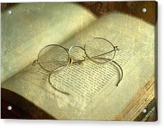Old Silver Spectacles And Book Acrylic Print by Suzanne Powers
