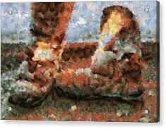 Old Snow Boots Acrylic Print by Ayse Deniz