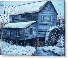 Old Snow Covered Mill Acrylic Print by Glenda Barrett
