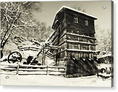 Old Snow Covered Quarry Mill Acrylic Print by George Oze