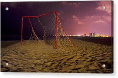 Old Soccer Net Acrylic Print by Aged Pixel