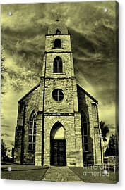 Old St. Mary's Church In Fredericksburg Texas In Sepia Acrylic Print