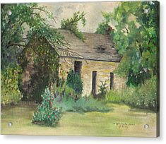 Old Stone Building In Kansas Acrylic Print by Sheila Kinsey