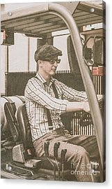Old Style Warehouse Worker Driving Forklift Acrylic Print by Jorgo Photography - Wall Art Gallery