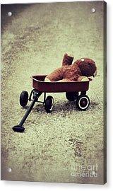 Old Teddy Bear In Red Wagon Acrylic Print