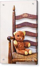 Old Teddy Bear Sitting In Chair Acrylic Print by Birgit Tyrrell