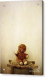 Old Teddy Bear Sitting On Stool Acrylic Print by Birgit Tyrrell