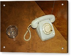 Old Telephone And Ashtray On Brown Table Acrylic Print by Matthias Hauser