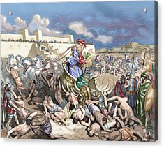 Old Testament Siege Of Rabbah. David Attacks The Ammonites Acrylic Print by Gustave Dore
