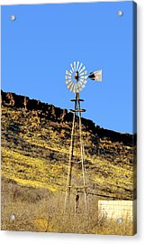 Old Texas Farm Windmill Acrylic Print by Christine Till
