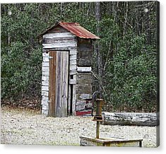 Old Time Outhouse And Pitcher Pump Acrylic Print by Al Powell Photography USA